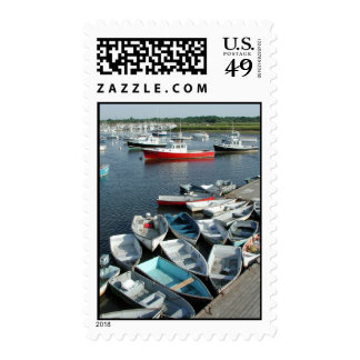 Small Colorful Boats Crowd Together Postage