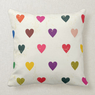Small Colorful Hearts Pattern Throw Pillow