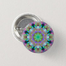 Small Colorful Psychedelic Dreamy Mandala Button