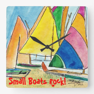 Small Colorful Sailboats On Beach Clock