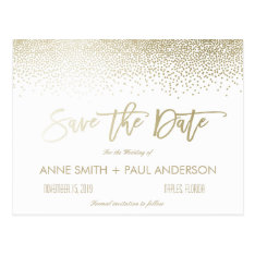 Small Confetti Save The Date Postcard at Zazzle