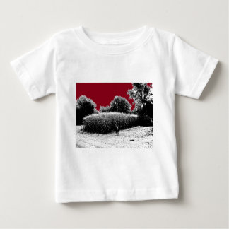 Small Cornfield with Dark Red Sky Baby T-Shirt