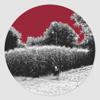 Small Cornfield with Dark Red Sky Classic Round Sticker