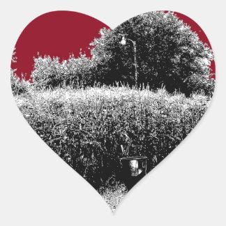 Small Cornfield with Dark Red Sky Heart Sticker