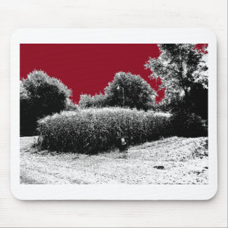 Small Cornfield with Dark Red Sky Mouse Pad