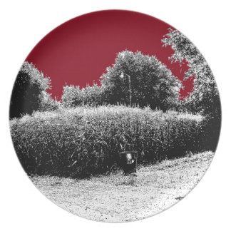 Small Cornfield with Dark Red Sky Party Plates