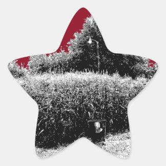 Small Cornfield with Dark Red Sky Star Sticker