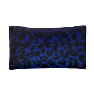Small Cosmetic Bag~Blue Leopard Print Makeup Bag