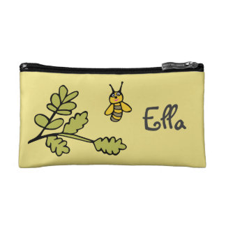 Small Cosmetic Bag with Bee and Personalised Name