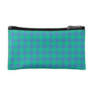 Small Cosmetics Bag Emerald and Blue Dogtooth