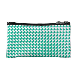 Small Cosmetics Bag, Emerald Dogstooth Check Makeup Bag