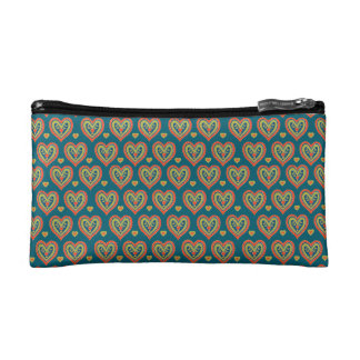 Small Cosmetics Bag, Red, Green Hearts on Teal Cosmetic Bag