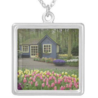 Small cottage flower shop, Keukenhof Gardens, Silver Plated Necklace