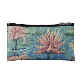 Small Custom Peach Liliy Cosmetic Bag By Yotigo at Zazzle