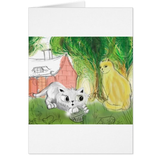 small cute cat with mom card