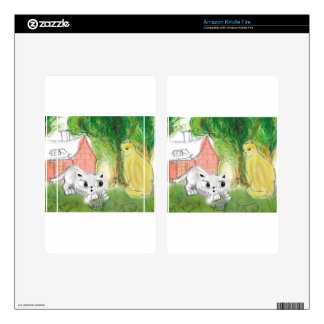 small cute cat with mom decal for kindle fire