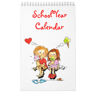 Small Cute Red Single Page School Year Calendar