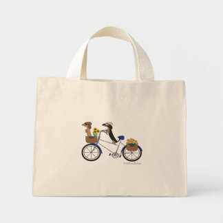 Small Dachshund Tote Bag-On Bicycle by Sudachan
