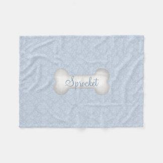SMALL Damask in Blue with Dog Bone Fleece Blanket