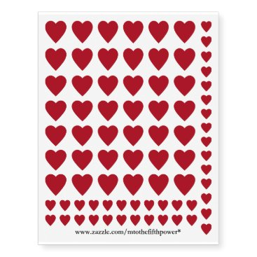 Valentines Themed Small Dark Red Hearts Temporary Tattoos