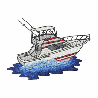 Small Deep- Sea Fishing Boat Embroidered Polo Shirt