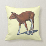 Small Deer, Fawn: Oil Pastel Painting Throw Pillow