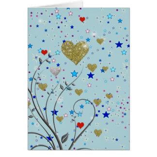 small delicate hearts card
