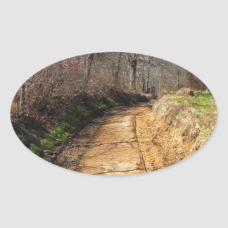 Small Dirt Country Road Oval Sticker