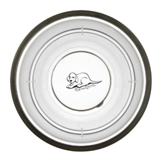 "Small Dog Bowl with Dog Cartoon and Text ""Top Dog"""