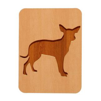 Small dog engraved on wood design rectangular photo magnet