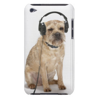 Small dog wearing headphones barely there iPod cover