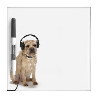 Small dog wearing headphones Dry-Erase board
