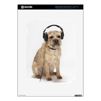 Small dog wearing headphones iPad 3 skins