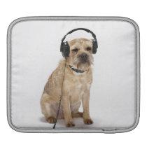 Small dog wearing headphones iPad sleeve