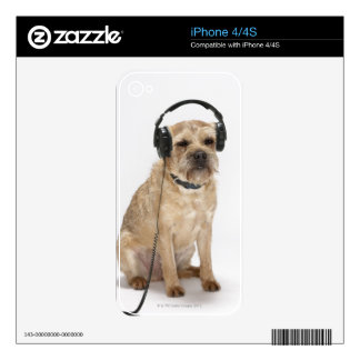 Small dog wearing headphones iPhone 4 skins