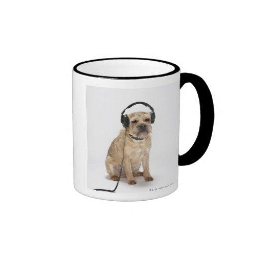 Small dog wearing headphones mug