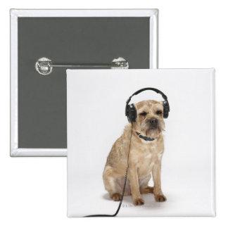 Small dog wearing headphones pinback button