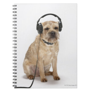 Small dog wearing headphones spiral notebook
