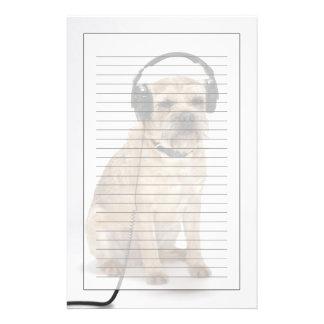 Small dog wearing headphones stationery