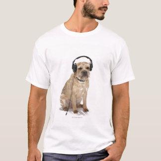 Small dog wearing headphones T-Shirt