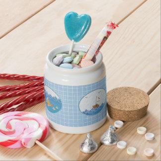 Small earthenware jar Navy/Adorable gravel bank Na Candy Dish