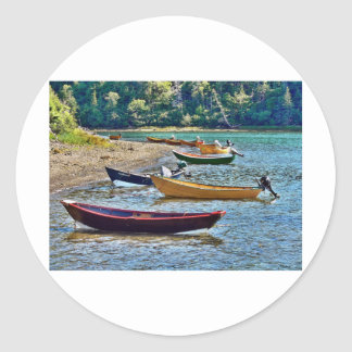 Small East Coast Ftishermen Boats Round Stickers