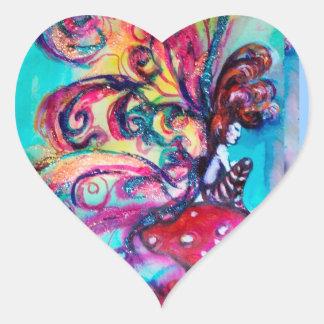 Small Elf of Mushrooms Fantasy Heart Sticker
