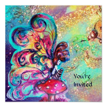 Halloween Themed SMALL ELF OF MUSHROOMS ,Gold yellow blue sparkle Card