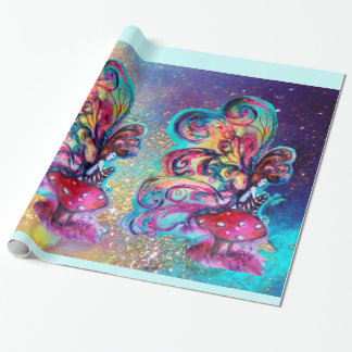 Small Elf of Mushrooms -MAGIC BUTTERFLY PLANT Wrapping Paper