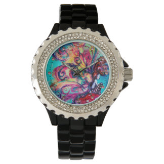 Small Elf of Mushrooms / Pink Gemstones Wrist Watch