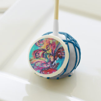 SMALL ELF OF MUSHROOMS ,pink yellow blue sparkle Cake Pops