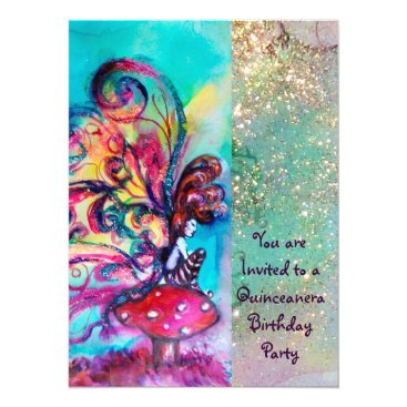 Halloween Themed SMALL ELF OF MUSHROOMS ,pink yellow blue sparkle Card