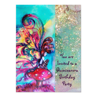 SMALL ELF OF MUSHROOMS ,pink yellow blue sparkle Card