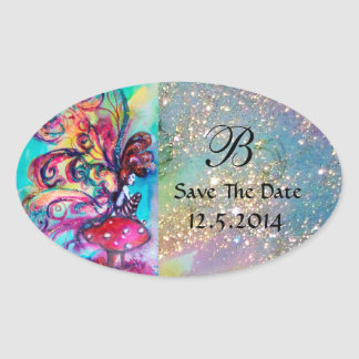 Small Elf of Mushrooms Save The Date Monogram Oval Sticker